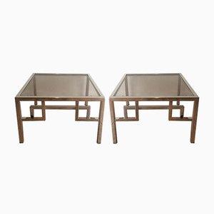 Mesas auxiliares vintage de vidrio y cromado. Juego de 2