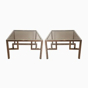 Tables d'Appoint Vintage en Chrome et Verre, Set de 2