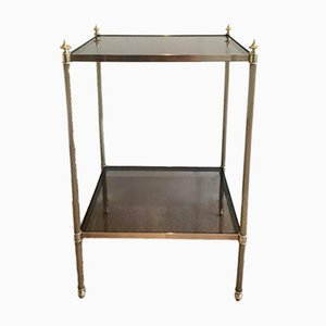 Brass & Smoked Glass Side Table by Maison Jansen, 1940s