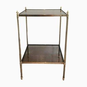Table d'Appoint en Cuivre et Verre Fumé par Maison Jansen, 1940s