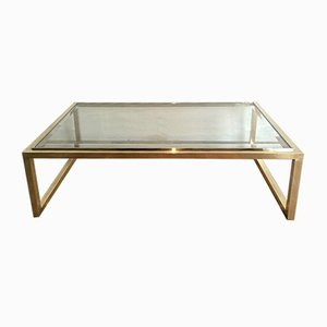 Table Basse en Laiton et Chrome, 1970s