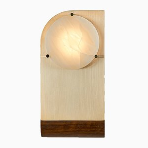 Polifemo Wandlampe aus gebürstetem Messing, Alabaster und Mongoy Holz von Silvio Mondino Studio