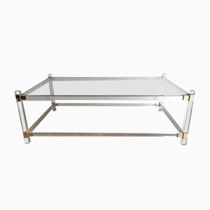 Table Basse Vintage en Lucite et Or