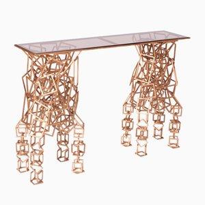 Mesa consola de hierro dorado hecha a mano