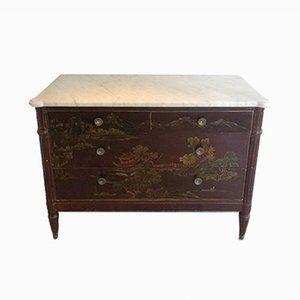 Burgundy Lacquered Chest of Drawers with Chinese Scenes, 1920s