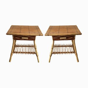 Tables d'Appoint en Rotin, 1970s, Set de 2