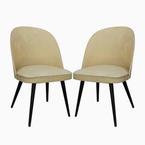 Holz & Vinyl Stühle, 1960er, 2er Set