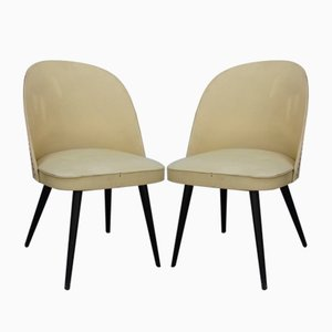 Wood & Vinyl Chairs, 1960s, Set of 2