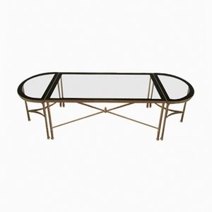 Long 3-Part Gilt Metal Coffee Table with Clear Glass Tops & Black Lacquered Rim, 1960s