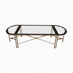 Mesa de centro grande de 3 partes de metal dorado con superficie de vidrio transparente y borde lacado en negro, años 60
