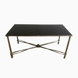 Nickel Coffee Table with Black Lacquered Top, 1960s