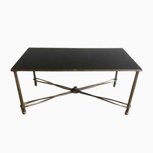 Table Basse en Nickel et Plateau Laqué Noir, 1960s