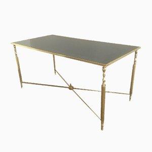 Tavolino da caffè vintage in ottone e vetro specchiato