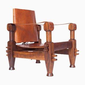 Vintage Brutalist Armchair in Cognac Leather