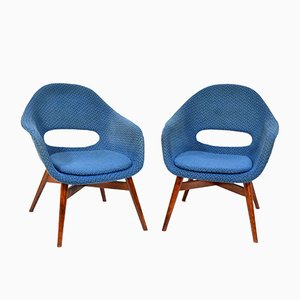 Blue Shell Chairs by Miroslav Navrátil, 1960s, Set of 2