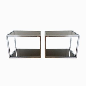 Vintage Smoked Glass & Chrome Side Tables, Set of 2