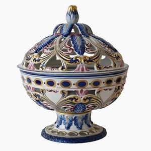 Cuenco de popurrí francés de porcelana pintada a mano, años 50