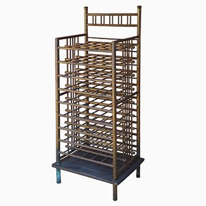 Industrial Wooden & Brass Wine Rack,1970s