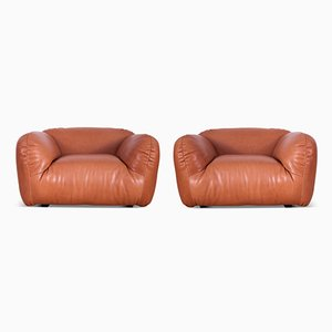 Vintage Italian Leather Club Chairs, Set of 2