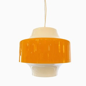 Hängeleuchte mit gelbem Glasschirm von Vistosi, 1960er