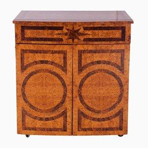 Mueble bar francés de madera nudosa lacada, años 70