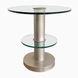 Tisch aus Glas & gebürstetem Stahl, 1970er