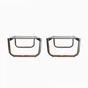 Mesas auxiliares de vidrio, madera negra y cromado, años 70. Juego de 2