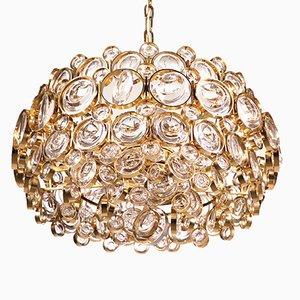 Lámpara de araña de cristal bañada en oro de Gaetano Sciolari para Palwa, años 60