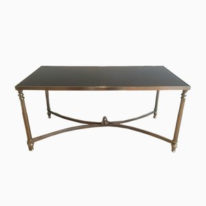 Neoclassical Silvered & Black Lacquered Coffee Table, 1940s