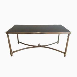 Table Basse Néoclassique Argentée et Laquée en Noir, 1940s