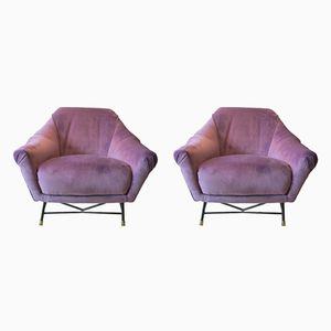 Italienische Samt Sessel, 1950er, 2er Set