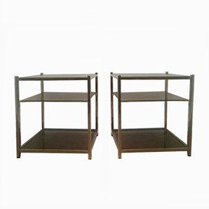 Mesas auxiliares de tres niveles de vidrio y cromado, años 40. Juego de 2