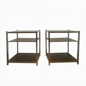 Three Tiered Chrome & Glass Side Tables, 1940s, Set of 2