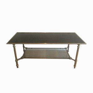 Neoclassical Style Silvered Coffee Table with Black Lacquered Glass Top, 1940s