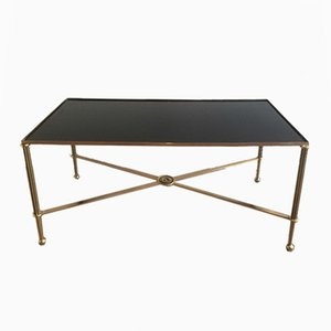 Brass & Black Lacquered Glass Coffee Table, 1940s