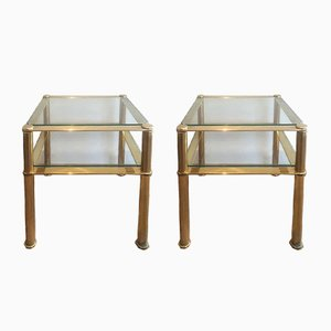 Tables d'Appoint en Laiton Massif, 1960s, Set de 2