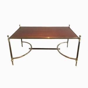 Mesa de centro de metal cepillado, madera y latón de Maison Jansen, años 40