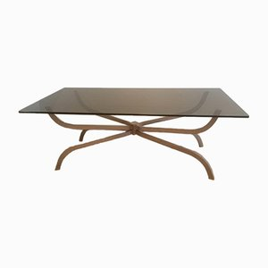 Brushed Steel & Smoked Glass Coffee Table from Maison Charles, 1960s