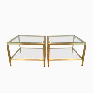 Mesas auxiliares vintage de latón anodizado. Juego de 2
