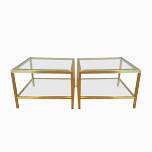 Table Basses Vintage en Laiton Anodisé, Set de 2