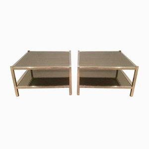 Mesas auxiliares vintage de espejo de bronce y cromado. Juego de 2