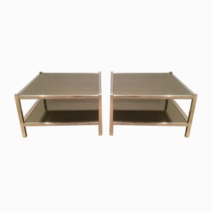 Tables d'Appoint Vintage en Chrome et Bronze, Set de 2