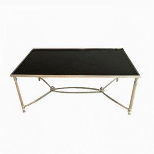 Mesa de centro plateada con tablero de vidrio lacado en negro, años 40
