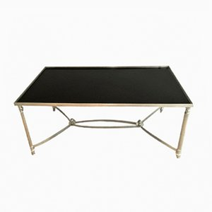 Silvered Coffee Table with Black-Lacquered Glass Top, 1940s