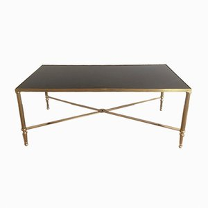 Brass & Black Lacquered Coffee Table, 1940s