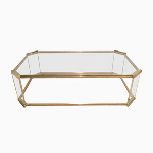 Vintage Brass and Lucite Octagonal Coffee Table