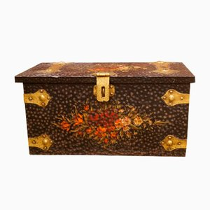 Vintage British Handpainted Trunk, 1930s