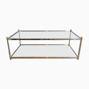 Mesa de centro vintage de metal dorado y cromado