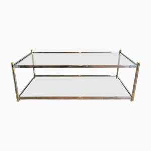 Vintage Chrome and Gilt Metal Coffee Table