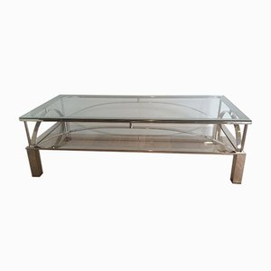 Table Basse Vintage en Chrome et Verre